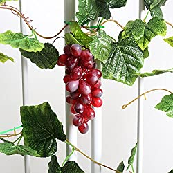 YILIYAJIA 2PCS Artificial Grapes and Vines,Fake Garlands with Greenery Ivy Leaves,Hanging Plants and Fruits for Home Garden Courtyard Decoration (Purple)