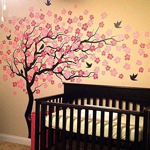 Honana 壁画 寝室 廊下 絵画風 桜の木の壁のステッカーのファッション学生寮のベッドルームクリエイティブ環境PVCはデコレーション大型壁紙現代のミニマリストの幸せな生活を彫刻しました おしゃれ プレゼント