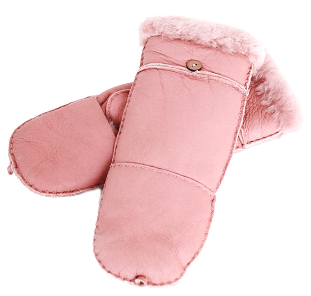 Womens Sheepskin Mittens Fingerless Glove with Mitten Cover (pink)