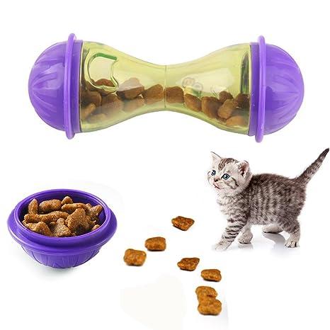 Behavetw Comedero para Mascotas, dispensador de Comida para Mascotas, Juguete portátil en Forma de