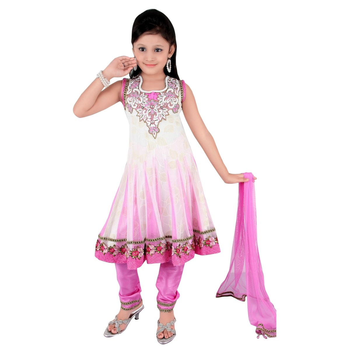 Shilp-Kala White Soft Net Partywear Embroidered Indian Salwar Kameez - TSSJSK3303 SKTSSJSK3303