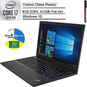 "2020 Lenovo ThinkPad E15 15.6"" FHD Business Laptop Computer, 10th Gen Intel Quad-Core i7 10510U Up to 4.9GHz, 8GB DDR4 RAM, 512GB PCIe SSD, AC WiFi, Fingerprint Reader, Windows 10 Pro, BROAGE USB Pen"