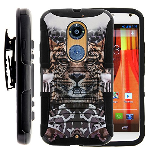 Moto X 2nd Gen Case, Moto X 2nd Gen Holster, Two Layer Hybrid Armor Hard Cover with Built in Kickstand for Motorola Moto X 2014 2nd Generation XT1092 XT1093 XT1094 XT1095 XT1096 XT1097 (AT&T, T Mobile, Verizon, US Cellular) from MINITURTLE | Includes Screen Protector - Zebra Leopard Illusion