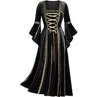 SUMSAYEI Womens Medieval Renaissance Dress Irish Off Shoulder Set Vintage Solid Color Flared Sleeve Princess