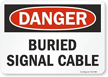 5 x 7 Laminated Vinyl Warning Underground Cable Label By SmartSign