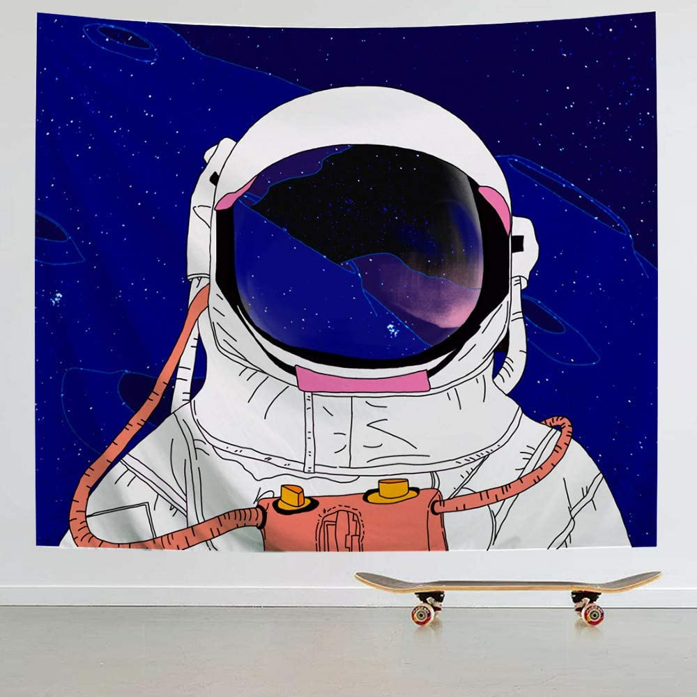 IcosaMro Astronaut Men Tapestry Wall Hanging, Cool Man in Outer Space Galaxy Wall Decor, [51x60][Hemmed Edges] Large Hippie Man Wall Art for Bedroom Living Room College Dorm, Blue