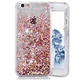 SUPVIN Liquid Phone Case for Girls, Creative Flowing Luxury Bling Glitter Sparkle Diamond Hard Clear Case Compatible for iPhone SE 5 5S(Pink)
