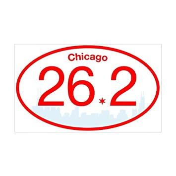 Cafepress chicago marathon red blue rectangle bumper sticker car decal