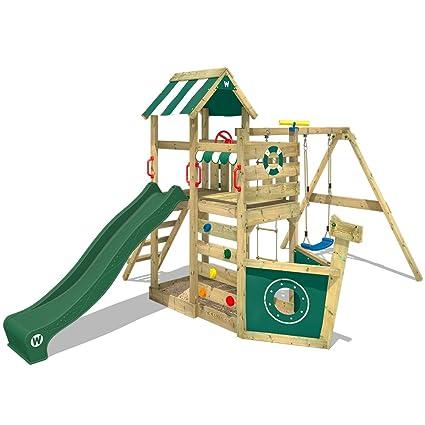 Wickey Parco Giochi In Legno Seaflyer Giochi Da Giardino Con Altalena E Scivolo Verde Casetta Arrampicata Da Gioco Con Sabbiera Per Bambini