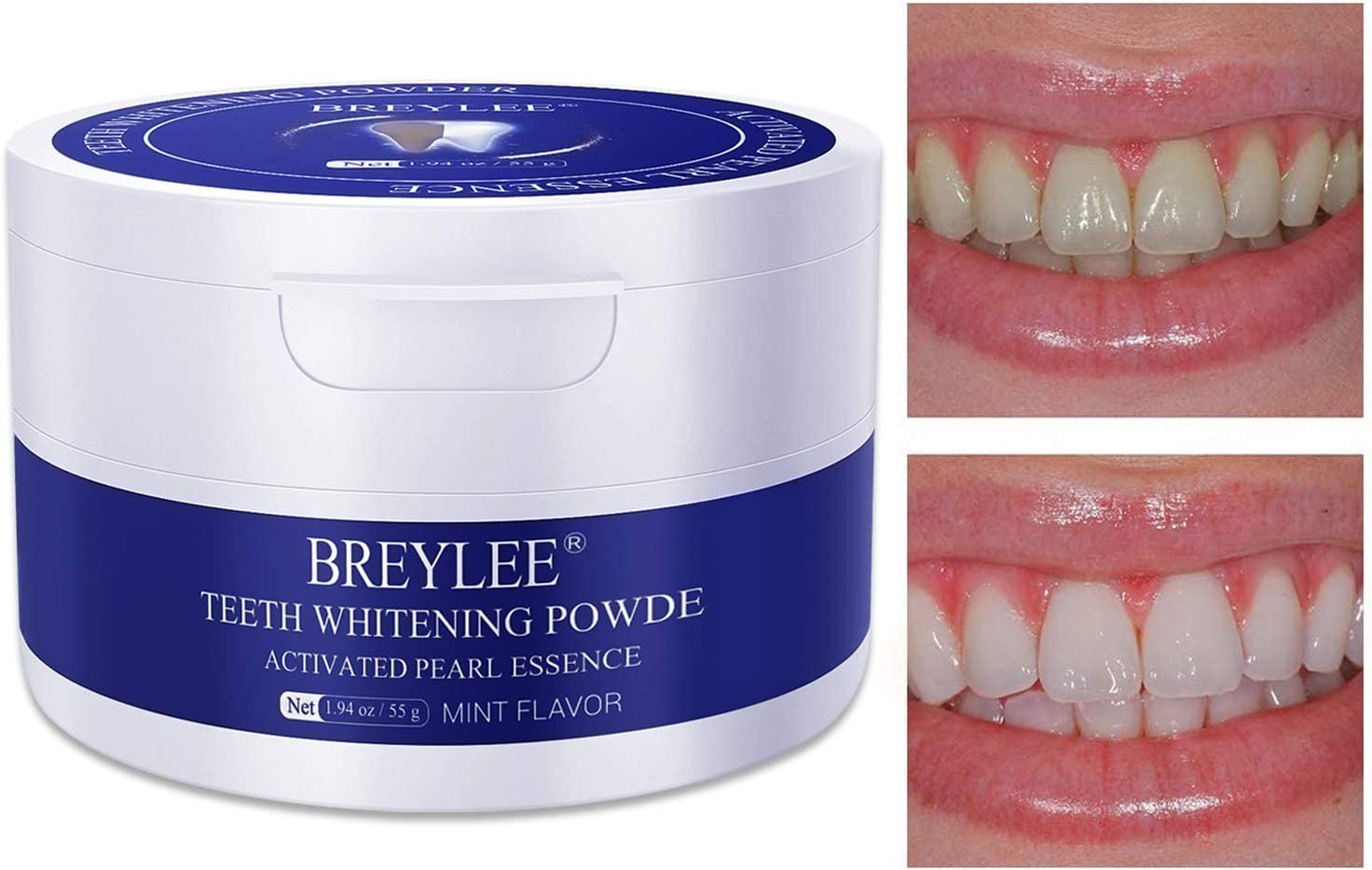 Teeth Whitening Powder BREYLEE Teeth Brightening Powder with Pearl Essence, Baking Soda for Removing Stain Caused by Coffee Wine Smoking Keeping Oral Fresh (55g, 1.94 oz) Only One Pack: Beauty