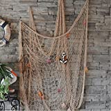 Kyпить KINGSO Mediterranean Style Decorative Fish Net With Anchor and Shells Beige на Amazon.com