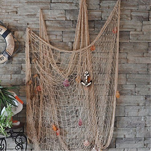 Style Decorative Fish Net With Anchor and Shells White (Decorative Shell)