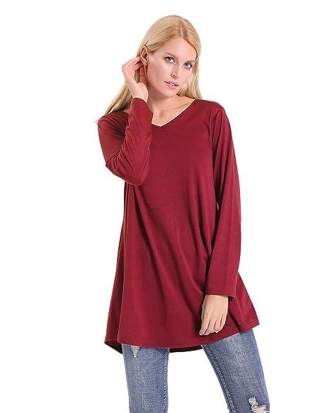 0d4eb49f84e ENIDMIL Women's Casual Tunic Top for Leggings Plus Size Long Sleeve Swing  Loose Fit Shirt Sweatshirt