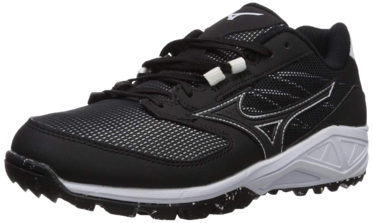 Mizuno Women's Dominant All Surface Turf Shoe Softball, Black/White, 7.5 B US