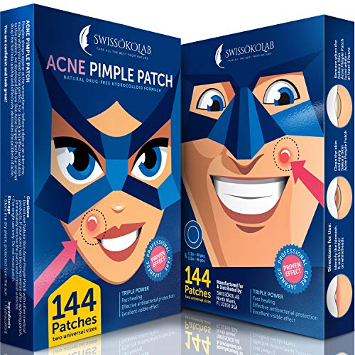 Acne Patch Pimple Patch Hydrocolloid Acne Stickers Absorbing Spot Dot Acne Cover 144 Acne Dots Pimple Sticker Acne Pimple Master Patch Blemish Patches