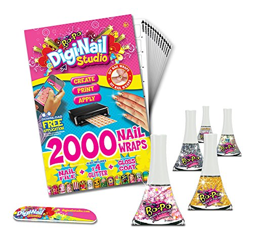 Digi-nail Studio Party Pack.  Nail Art Wraps with Free App. +5 Assorted top Coats