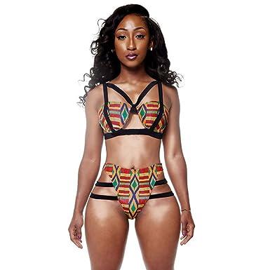 17e4d2768a710 Amazon.com  Molif Tribal Print High Waist Bikini Swimsuit Caged Bandage Swim  Suit Two Piece Swimwear  Clothing