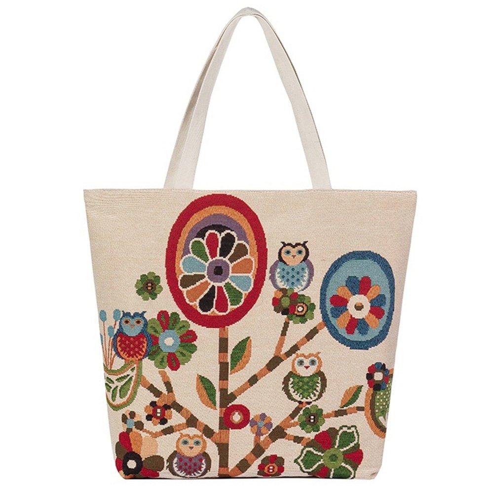 Toile Sac fourre-tout mignon hibou filles Zippered Light épaule Shopping sac de plage Jacquard Casual sac à main de voyage sacoche