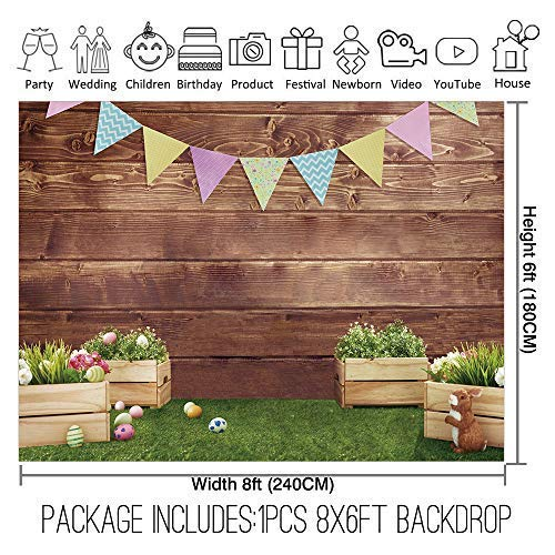 Allenjoy 8x6ft Fabric Spring Easter Backdrops for Girls Photography Wrinkle Free Happy Bunny Rabbit Green Grass Brown Wooden Wall Baby Shower Kids Newborn Portrait Background Photo Studio Shooting by Allenjoy (Image #1)