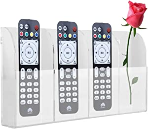 TV Remote Control Holder Wall Mount Acrylic Clear Media Organizer Storage Box Case Convenient Caddy Organizer with 4 Grids for Table Desk Bedside
