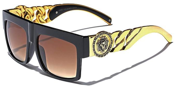 296f183cc92 Flat Top Gold Chain Link Hip Hop Rapper Aviator Celebrity Sunglasses BLACK  BROWN