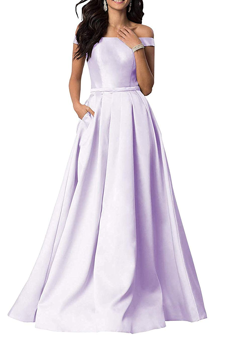 purplec Women's OffTheShoulder Satin Long Gown Prom Dress Evening Dresses with Pockets