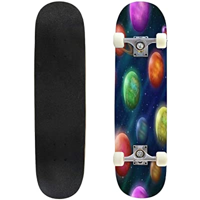 Classic Concave Skateboard Space Seamless Background with Various Planets and Moons Tile Pattern Longboard Maple Deck Extreme Sports and Outdoors Double Kick Trick for Beginners and Professionals : Sports & Outdoors [5Bkhe1202709]