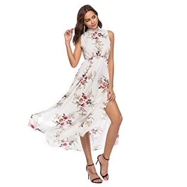 Longra Women Floral Printed Sleeveless Bandage Summer Long Dress Beach Sundress Petite Dresses Girls (White