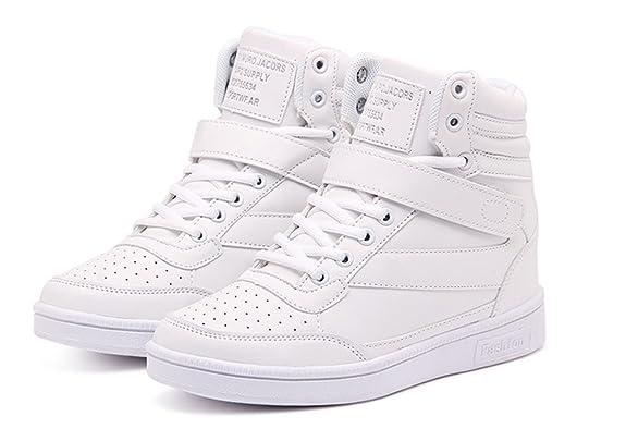 1f69b79ba337 wealsex Basket Montante Compensées Femme Scratch Lacets PU Cuir Chaussure  Mode Confort  Amazon.fr  Chaussures et Sacs