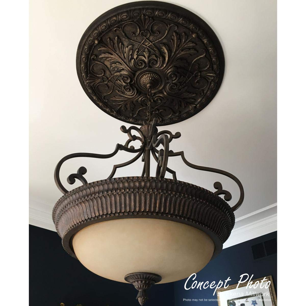 Ekena Millwork CM26HUSGS 22 1/8'' OD x 7 ID x 1 3/4'' P Hurley Ceiling Medallion (fits Canopies up to 7 1/4''), Hand-Painted, Steel Gray by Ekena Millwork (Image #6)