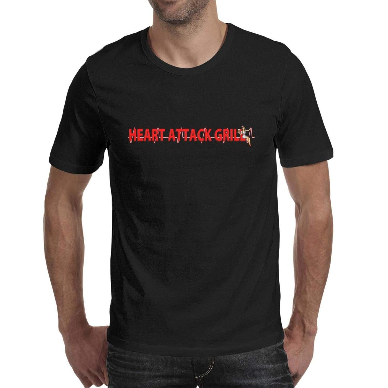 Wudo Men's Heart Attack Grill Logo Casual Crew Neck Cotton T-Shirts by Wudo