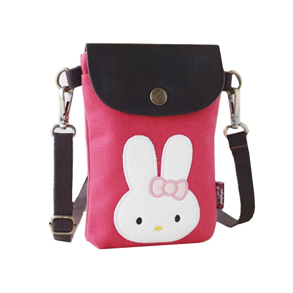 Abaddon Crossbody Bags Canvas Small Cute Cell Wallet Bag Phone Purse with Shoulder Strap coin purse (Pink rabbit)