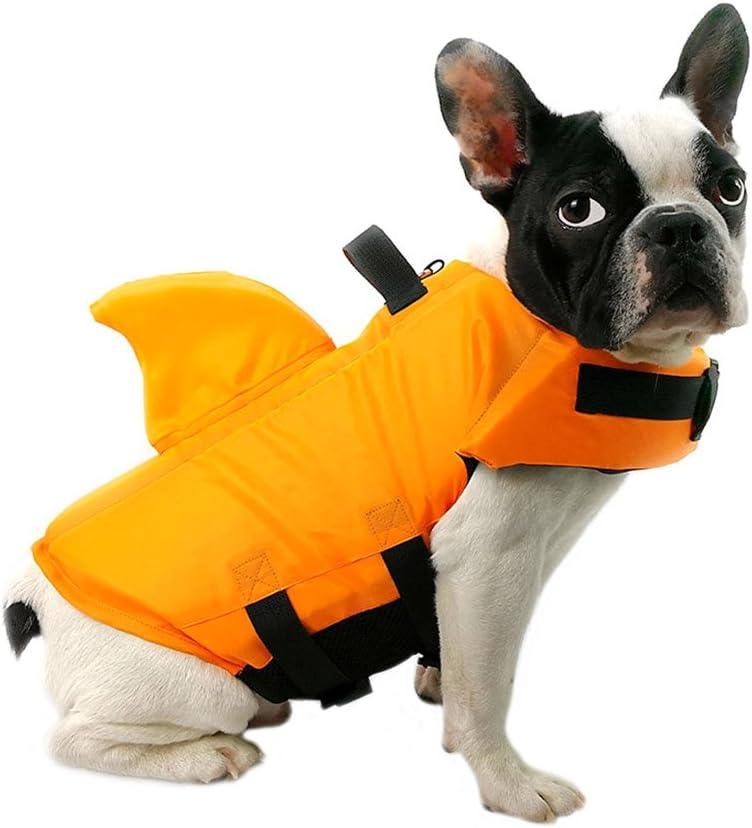 FONLAM Chaleco Salvavidas para Mascotas Chaqueta Chaleco de Seguridad Perro Perrito Ajustable con Aleta de Tiburón Ropa de Baño (M, Naranja)