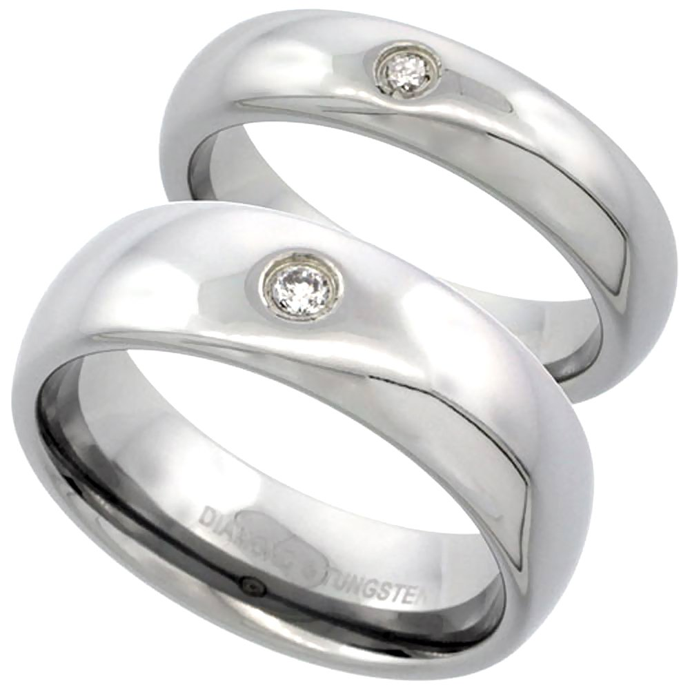 2-Ring Set 5 & 7 mm Tungsten 900 Diamond Wedding Ring Domed 0.09 cttw Polished Finish size 8