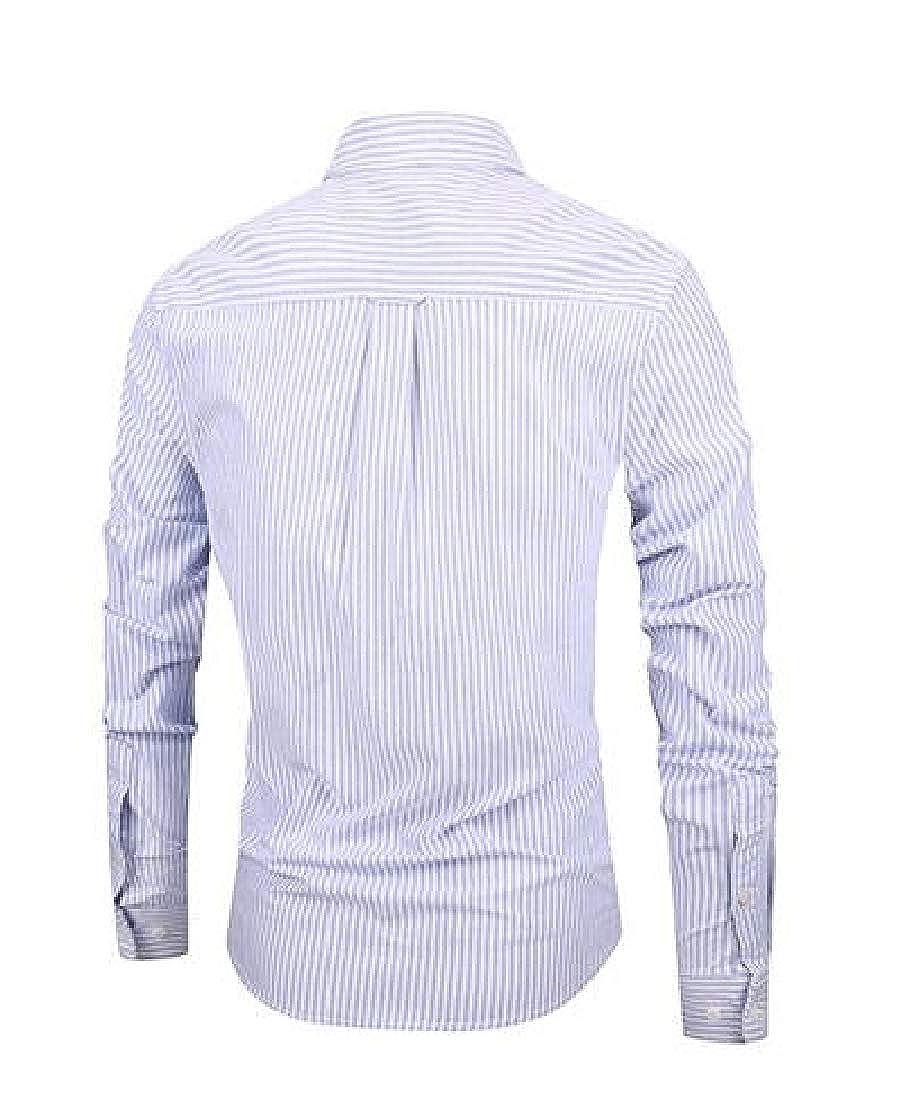 Wofupowga Mens Slim Fit All-Match Long-Sleeve Stripe Button Down Shirts
