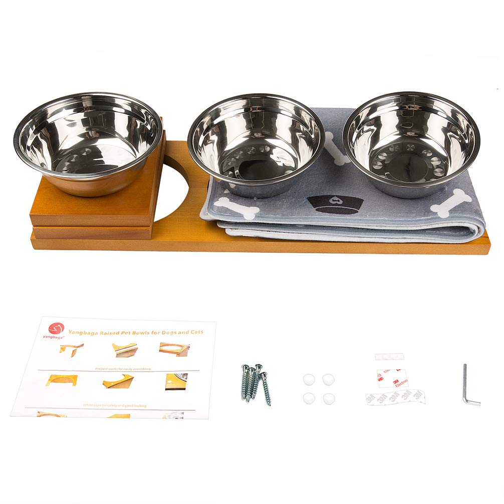 Raised Dog Bowls with Stainless Steel Dog Bowls Yangbaga Elevated Dog Bowls Came with Anti-Slip Feet for The Stand and Noise Preventing Bulges for Bowls