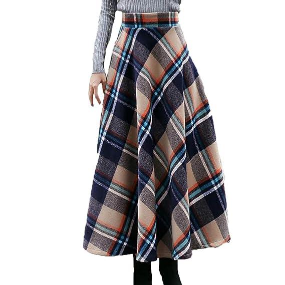 Frauen Hohe Taille Röcke A-Linie Herbst Winter Woolen Langen Rock  Faltenrock,Blue2- 8919dece07