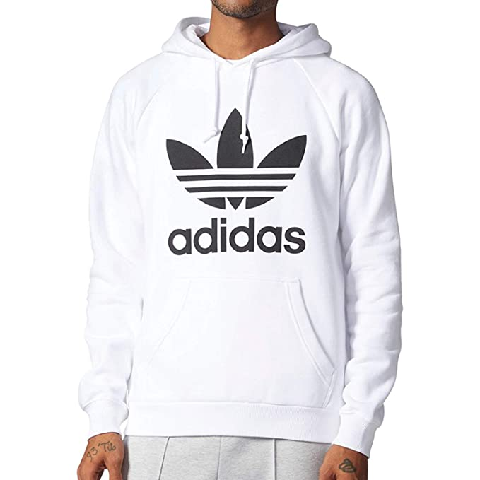 Adidas Originals Men's Trefoil Longsleeve Pullover Hoodie Vivid Red/White cv9550
