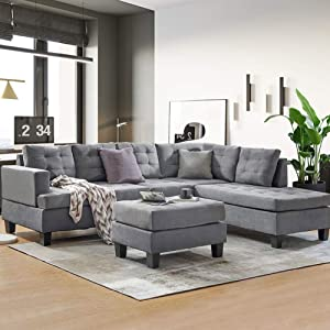 DKLGG Sectional Sofa Couch Modern L Shape Sleeper Couches with Reversible Chaise & Ottoman and Storage Ottoman for Living Room (Sectional Sofas 3-Seat Sofa)
