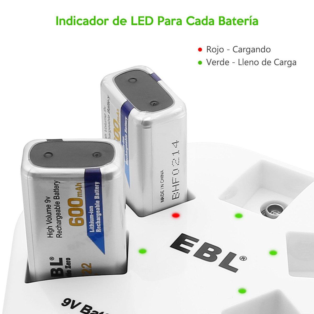 EBL Cargador de 9V Batería Recargable para Cargar 1-5 Unidades 9V Pilas Recargables de litio individualmente, Entrada USB (DC:5V/2A) con Cable de Datos USB Blanco 1M