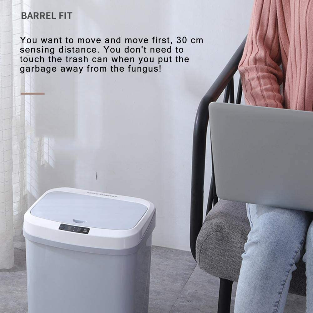 cobud Big Trash Can Garbage Can Trash Bin 15L Automatic Touchless Infrared Motion Sensor Adjustable Sensor for Office Kitchen with Motion-Sensing Lid Nice