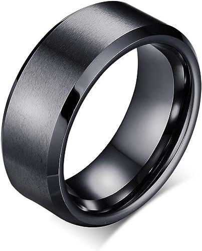 FREE SHIPPING FREE Engraving 8mm Black Tungsten Band with Beveled Edge Damascus Steel Pattern Laser Engraved Black Tungsten Wedding Ring
