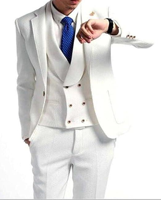 Amazon.com: Lilis Hombres la moda blanco 3 piezas traje ...