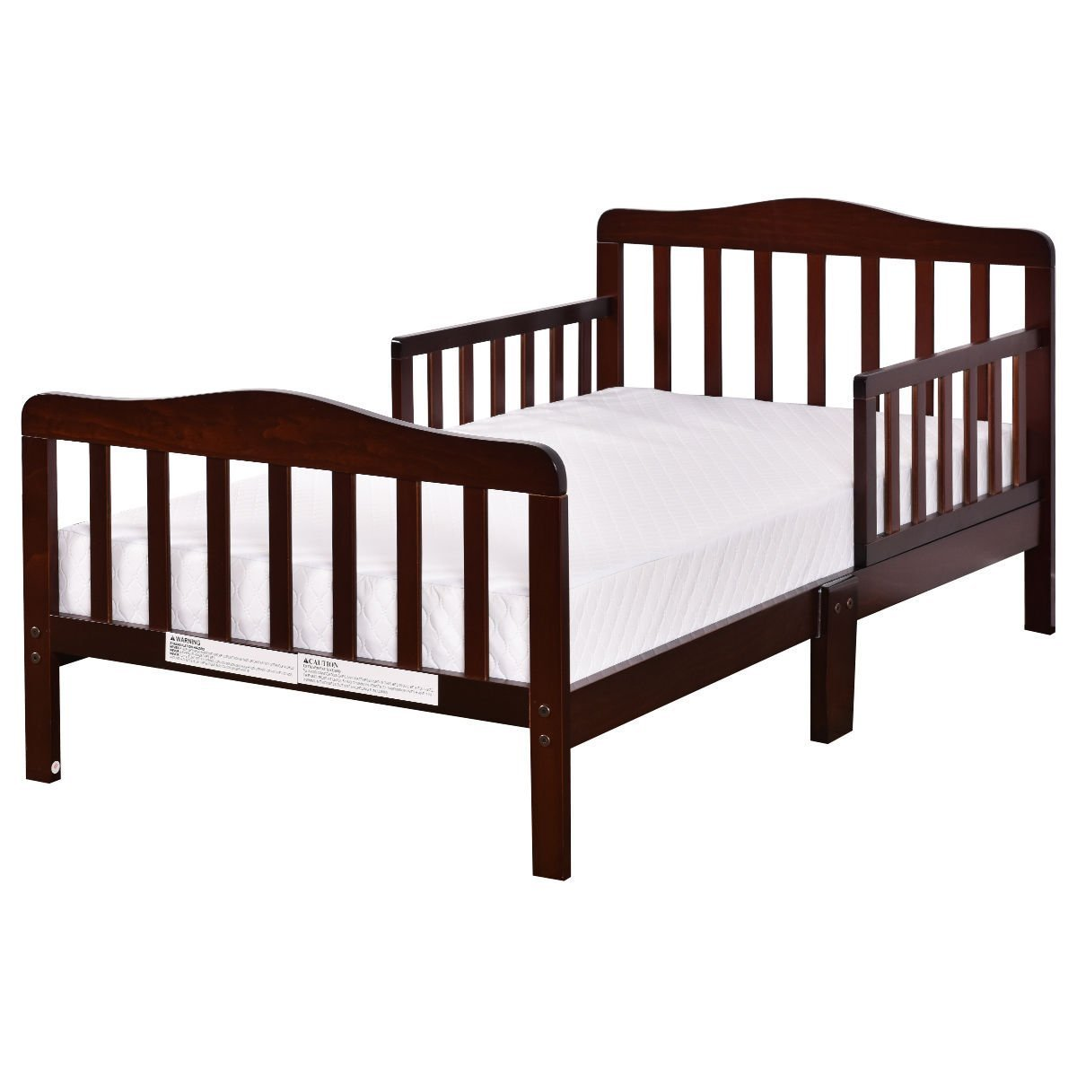 Costzon Toddler Bed, Wood Kids Bedframe Children Classic Sleeping Bedroom Furniture w/Safety Rail Fence (Cherry)