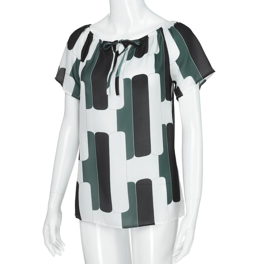 Mujer blusa tops sexy elegante Atractivo moda urbano,Sonnena Las mujeres de moda fuera de manga corta camiseta Chica gasa estampada blusa verano fiesta ...