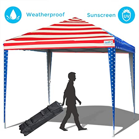 Quictent 10×10 Pop up Canopy Tent Commercial Instant Shelter Waterproof with Wheeled Carry Bag American Flag