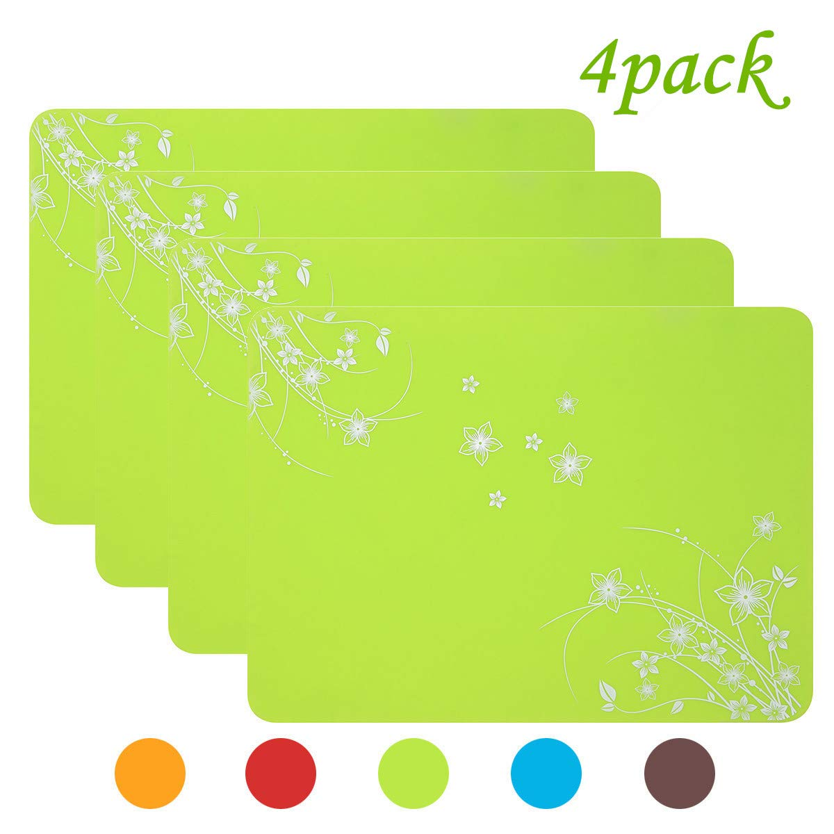 RIYUEMING Silicone Placemat,Waterproof Placematsfor Home, Kitchen and Outdoor, Heat Resistance and Water Proof, Non Slippery, Set of 4 (Green )
