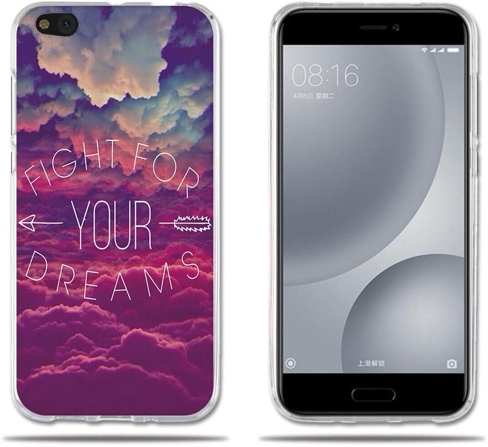 FUBAODA Funda Carcasa para para Xiaomi Mi 5c, Carcasa de Silicona Transparente TPU, Dibujo de Cielo Ensue?o, Carcasa Protectora de Goma de Altisima Calidad para para Xiaomi Mi5C (5.15