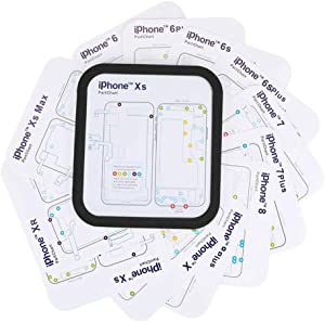Eonding Chart Magnetic Screw Mat Maps for iPhone 6 6P 6S 7 7P 8 8P X XS Max XR Repair 1pcs Magnetic Screw Mat and 12pcs Phone Part Chart Assembly Assistant Tool