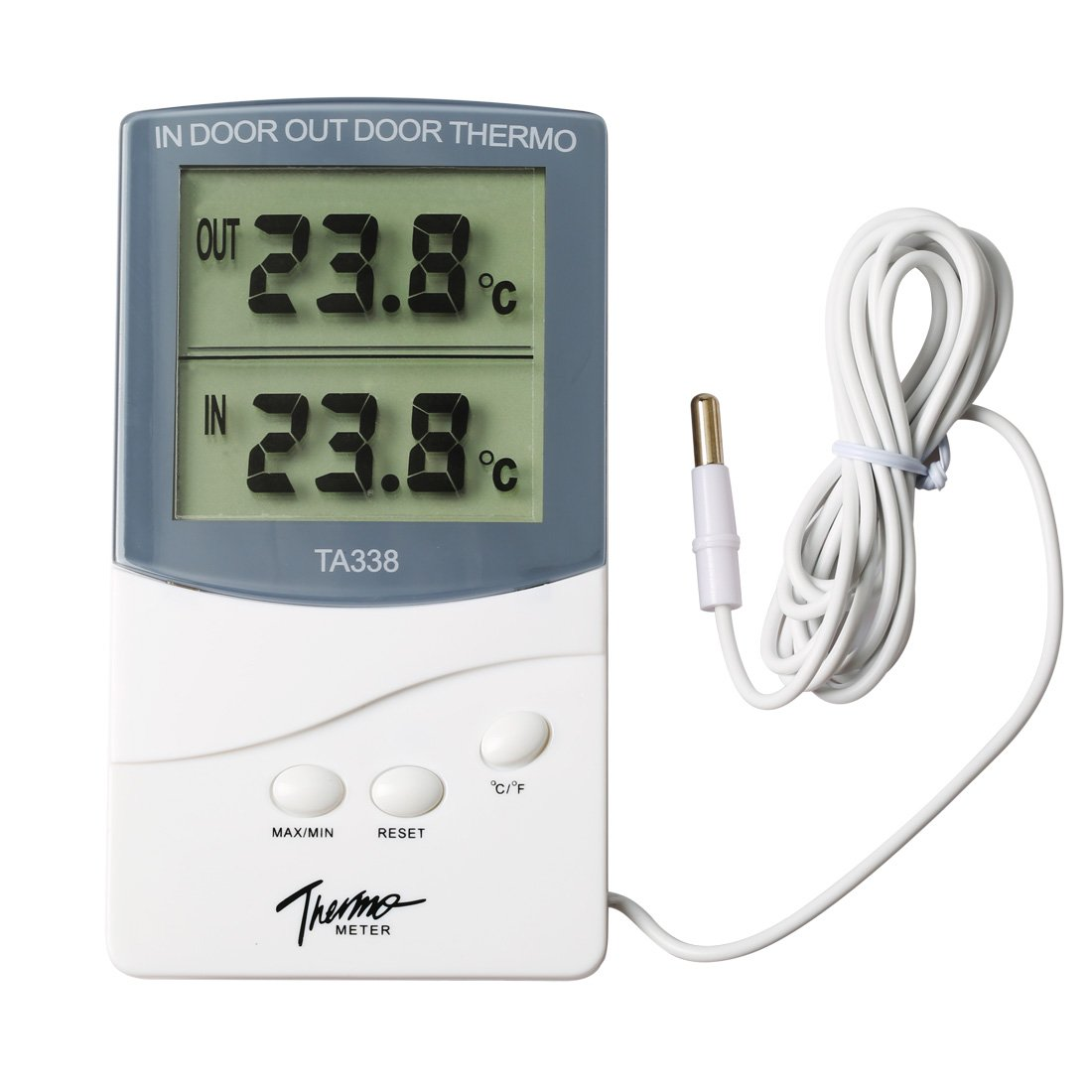 Ray-JrMALL Digital Thermometer Indoor Outdoor Weather Station MAX/MIN T, New Temperature Gauge LCD Digital Temperature Meter White MR.JIANG RayMALL0741